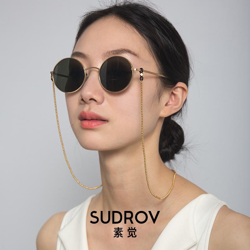 素觉铜镀金复古时尚太阳眼镜链条挂脖墨镜链子 近视眼镜链女
