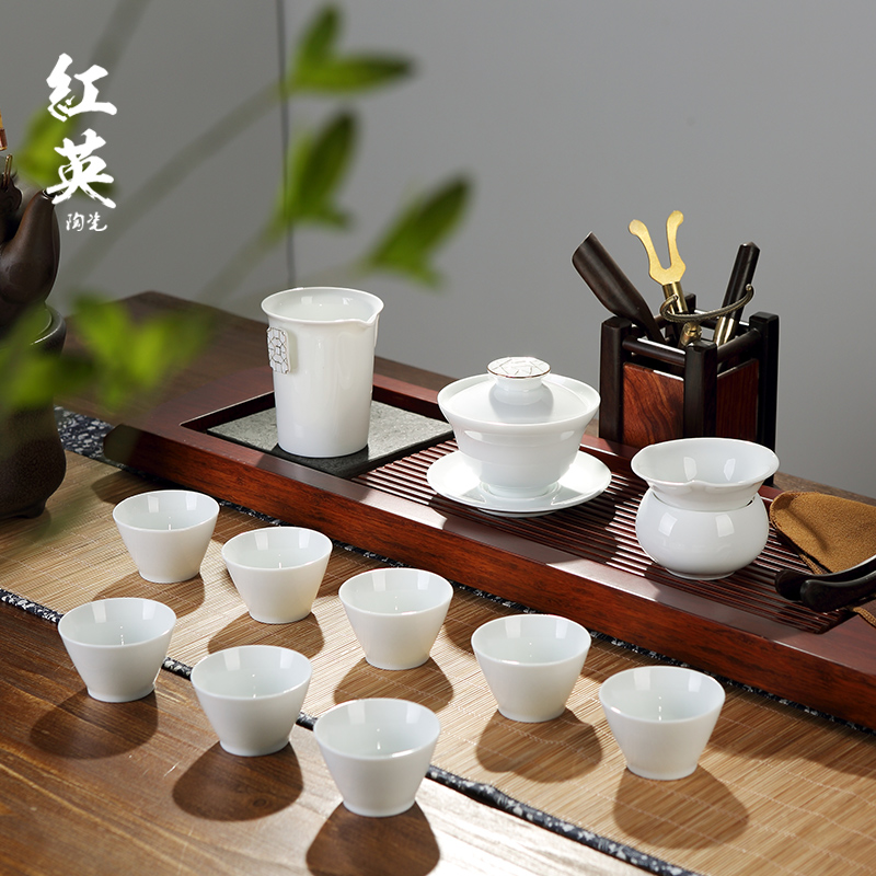Red the jingdezhen ceramic kung fu tea set suit household contracted and I jade white porcelain tureen tea cups of a complete set of the teapot