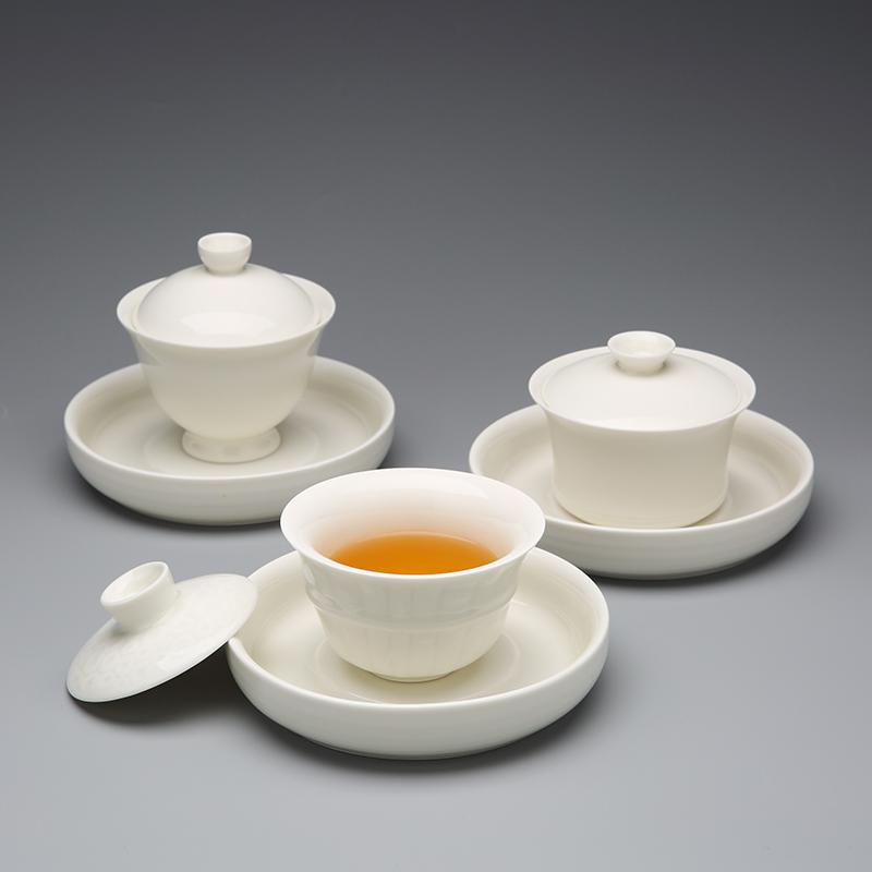 Red the jingdezhen ceramic only three tureen white jade porcelain teacup kung fu tea set tea bowl saucer
