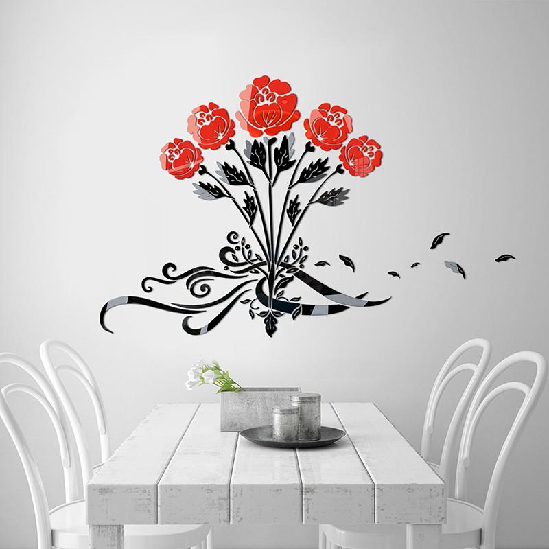 玫瑰花香亚克力3d立体墙贴客厅餐厅温馨卧室背景墙面房间床头装饰