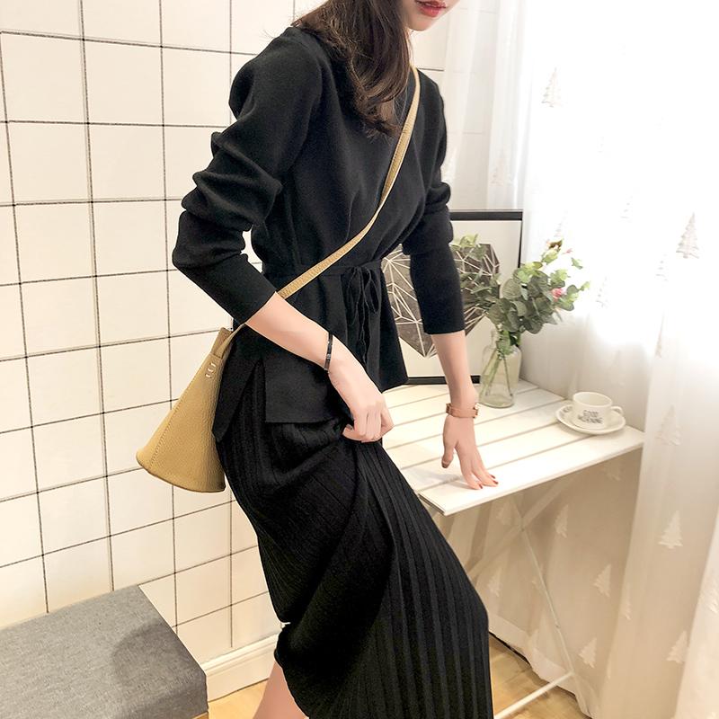 秋季毛衣裙子两件套女2018新款韩版时尚气质女神范针织套装百褶裙