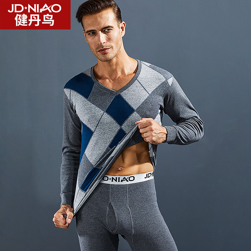 Jian Dan bird autumn clothing qiuku men's V-neck cotton sweater youth thin section thermal underwear set winter underwear