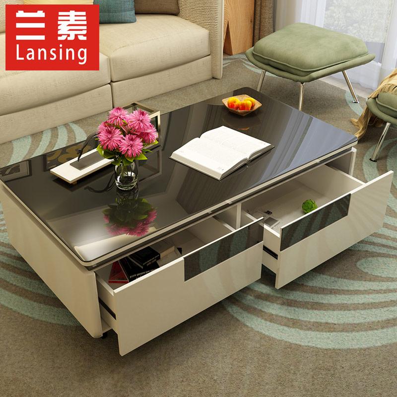兰素 简约现代 客厅家具组合钢琴烤漆茶几钢化玻璃小户型现货