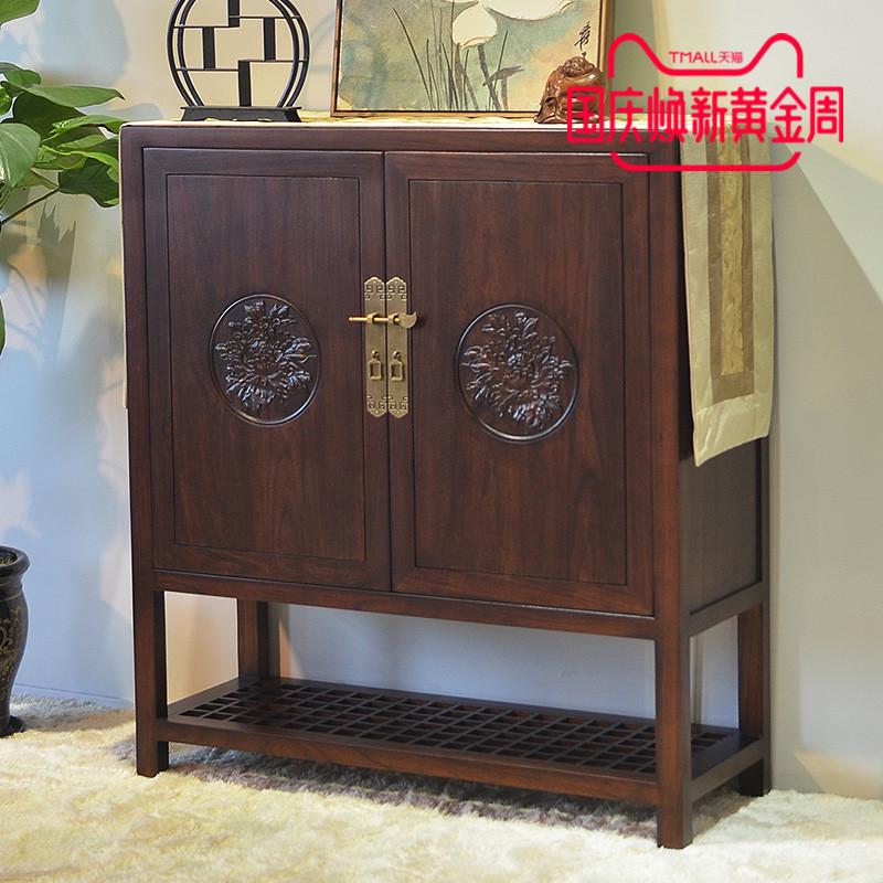 新中式实木鞋柜定制入户进门玄关柜隔断柜老榆木多功能大容量柜子