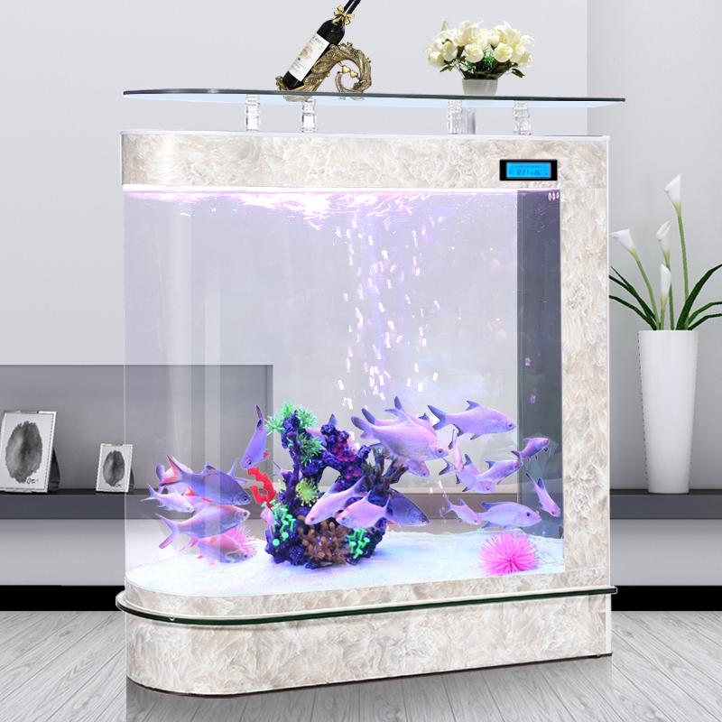 嘉洋子弹头吧台家用鱼缸客厅大中型玻璃底部过滤免换水生态水族箱