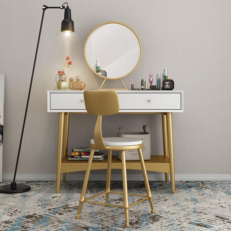 北欧简约现代烤漆卧室梳妆台小户型迷你化妆桌公主铁艺化妆台包邮