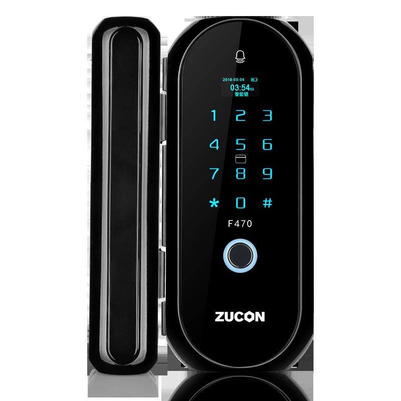 ZUCON  F470门禁指纹锁办公室玻璃门双门单开免开孔智能电子密码锁家用