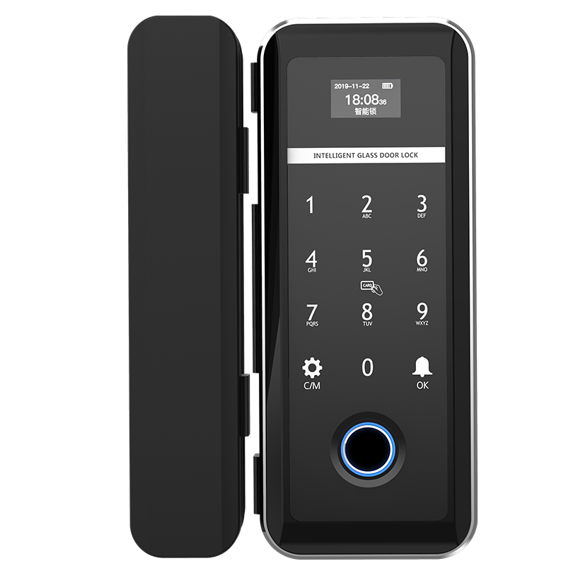 ZUCON F618玻璃门指纹锁单开半导体免开孔办公室智能电子密码锁双门禁