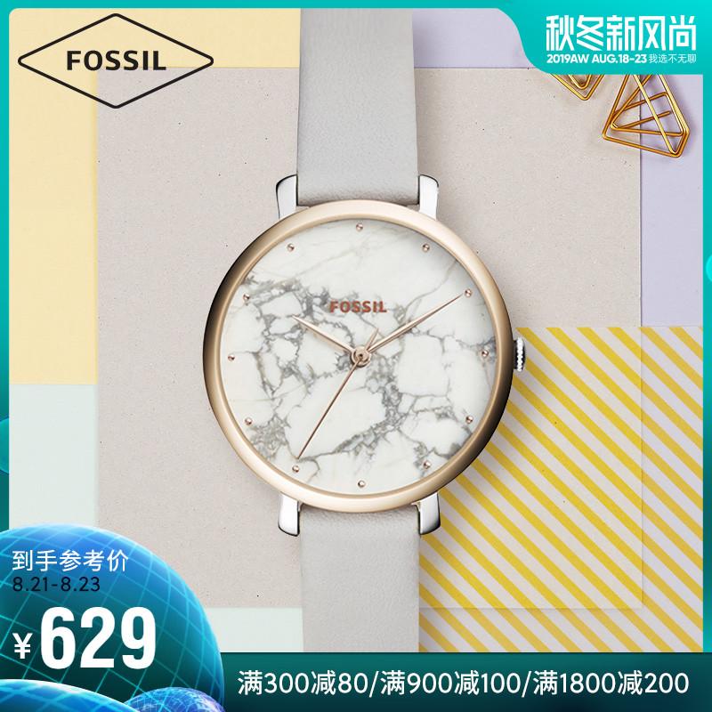 Fossil杨紫明星同款简约清新牛皮表带石英女士手表女ES4377