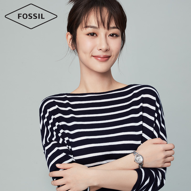 Fossil杨紫明星同款玫瑰金色钢表带石英手表女Georgia系列ES3894