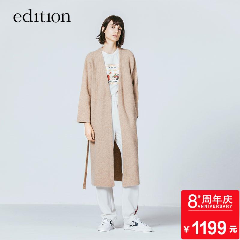 edition中长款针织开衫羊毛提花拼接腰带外套EA1643CAR05moco