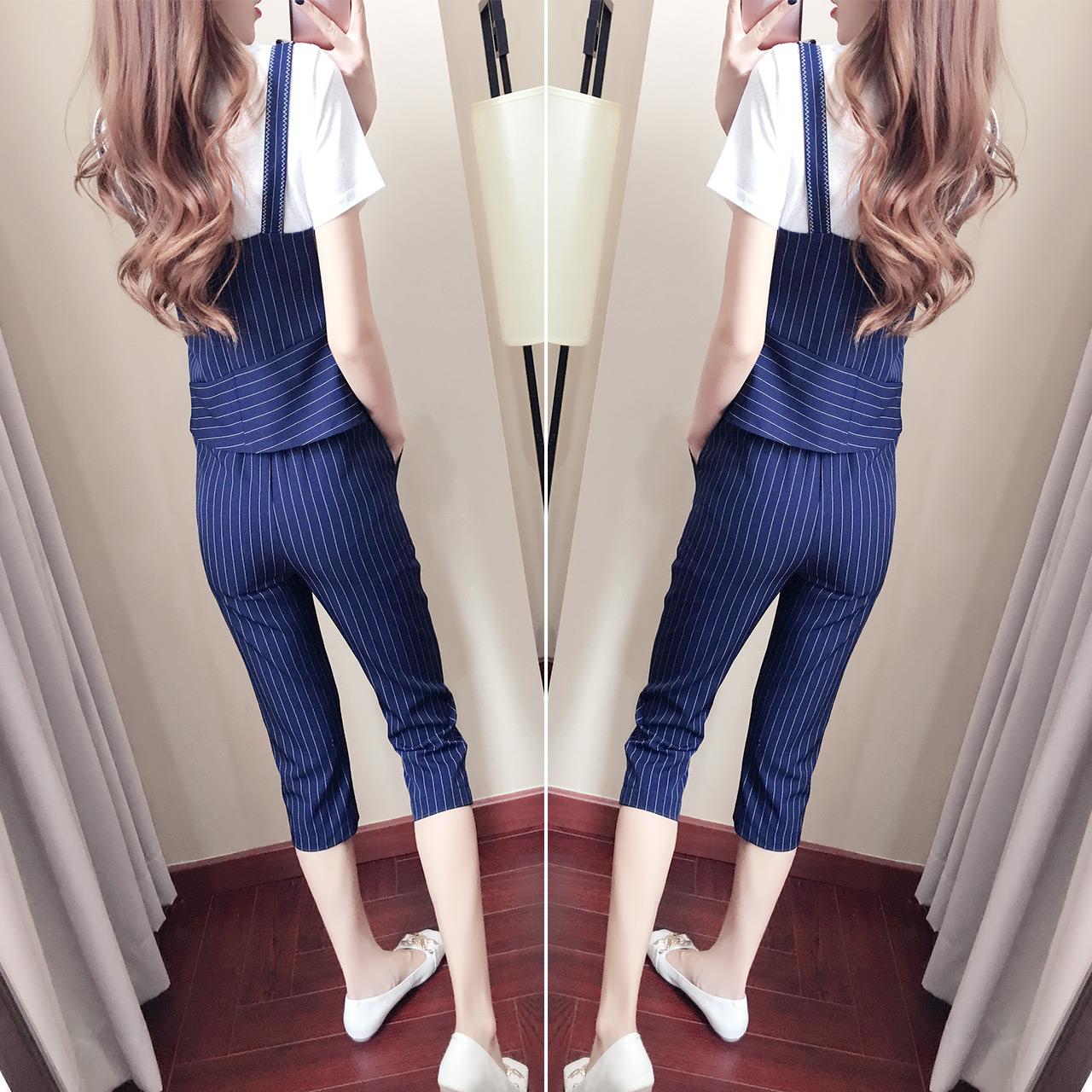 吊带阔腿裤套装夏装2018新款显瘦洋气复古chic港味套装女秋两件套