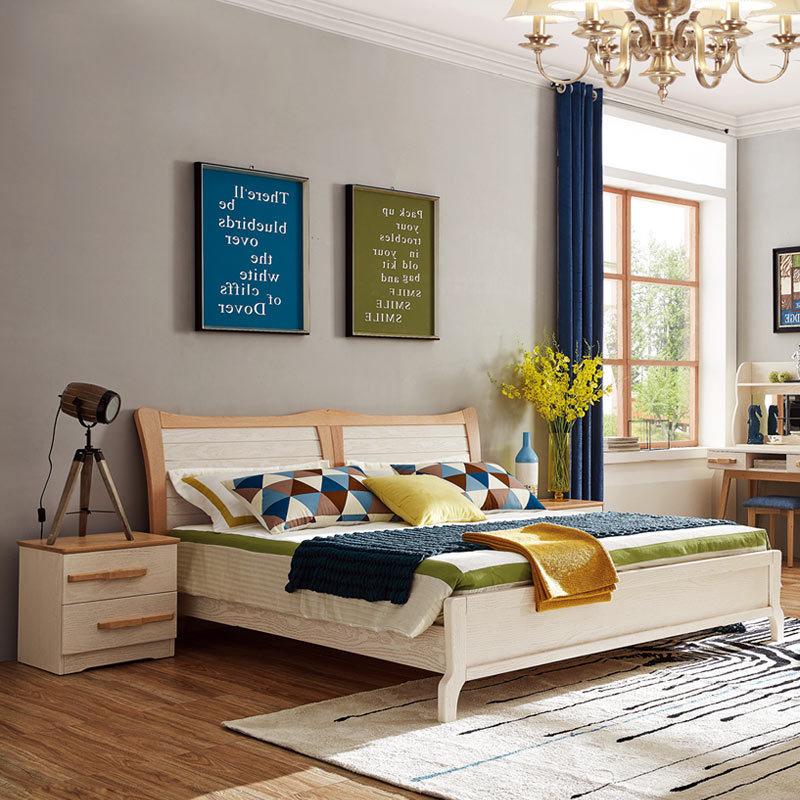 华宜居北欧实木双人床红橡木1.5米1.8米高箱床卧室家具现代储物床