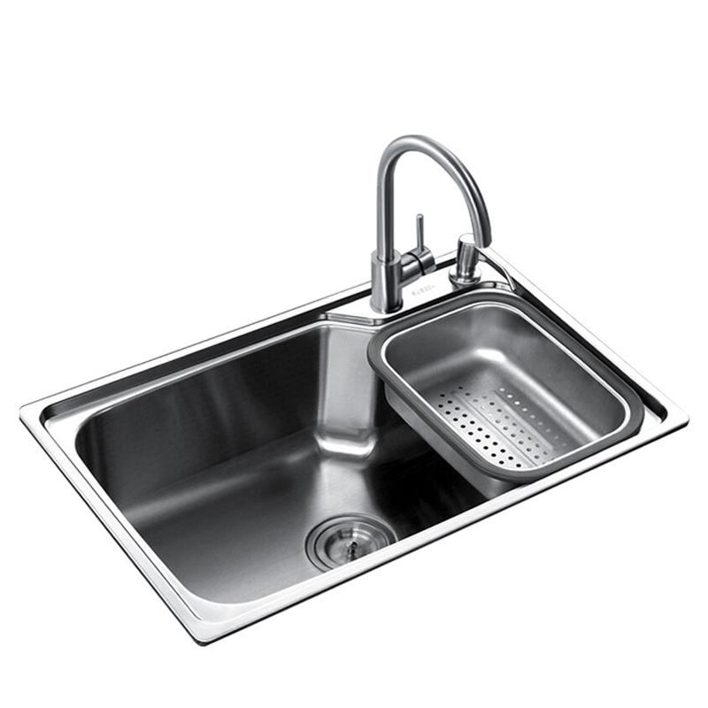 潜水艇304不锈钢厨房加厚大单槽水槽水池洗菜盆洗菜池套装GCP7545