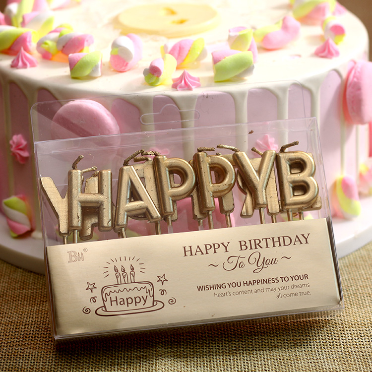 Gold Letter HB Birthday Candle Applicable Scenarios Party