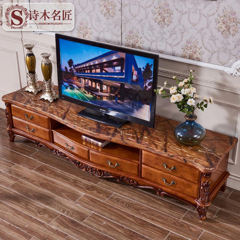 诗木名匠欧式实木大理石电视柜客厅奢华别墅高端电视机柜地柜仿古