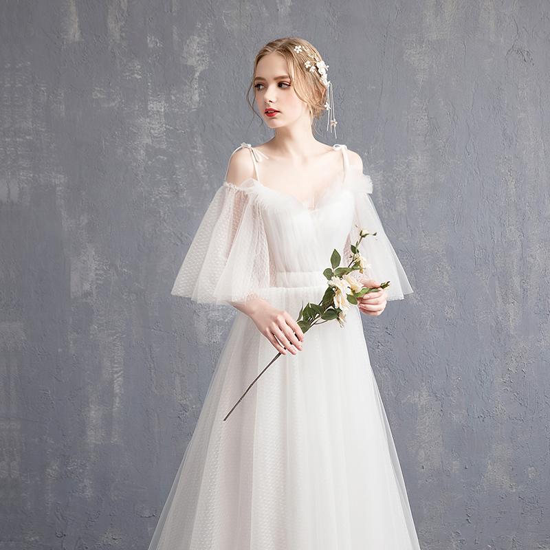 一字肩齐地婚纱礼服2018新款简约新娘拖尾轻森系公主超仙显瘦