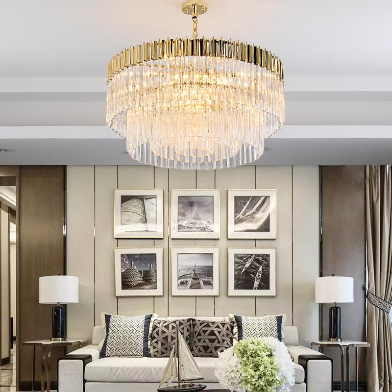 轻奢后现代客厅水晶吊灯餐厅简约创意设计师2018新款金属水晶灯