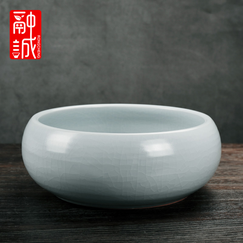 Melting cheng azure your up tea to wash to the ceramic large writing brush washer water jar for wash cup bowl on your porcelain wash tea accessories
