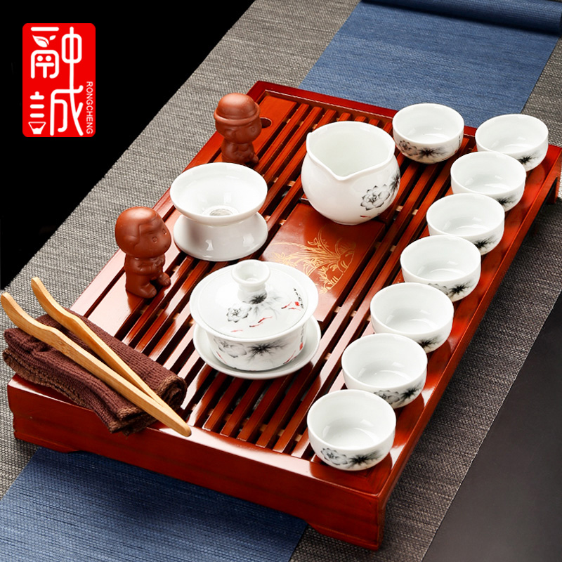 Melting cheng kung fu tea tea sets tea service of a complete set of ceramics with tea tray household porcelain cups set on sale