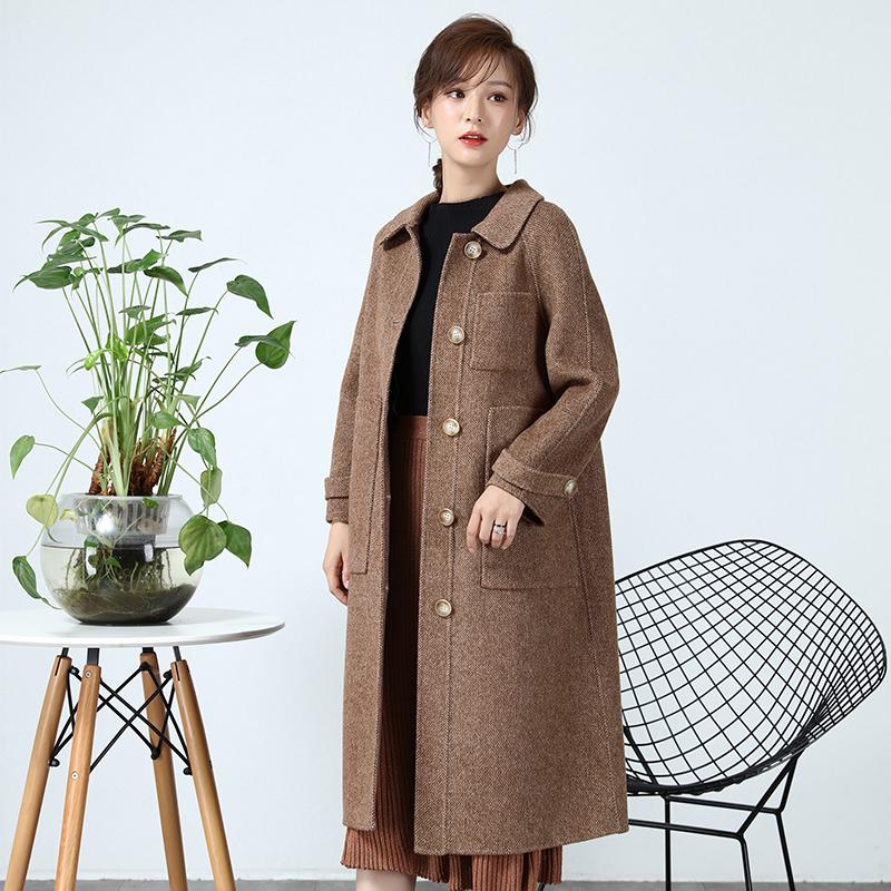 双面无羊绒大衣女中长款2018新款冬季韩版双面绒格子毛呢外套呢子