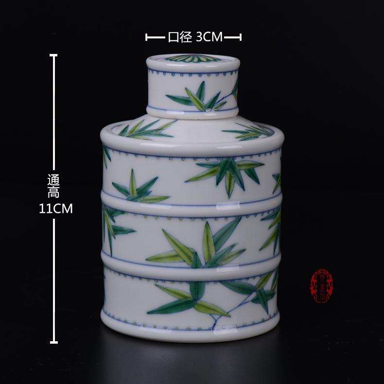 Pianology picking archaize of jingdezhen porcelain furnishing articles of handicraft bucket color bamboo tea pot home daily