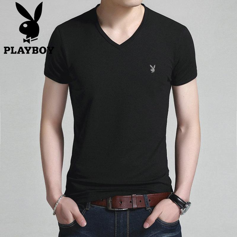 花花公子夏季男士短袖T恤V领男装体恤半袖夏装纯色潮流青年修身