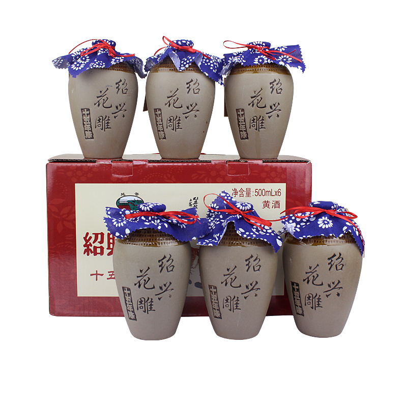 绍兴黄酒 十五年陈酿花雕酒 6瓶整箱礼盒装糯米加饭酒老酒
