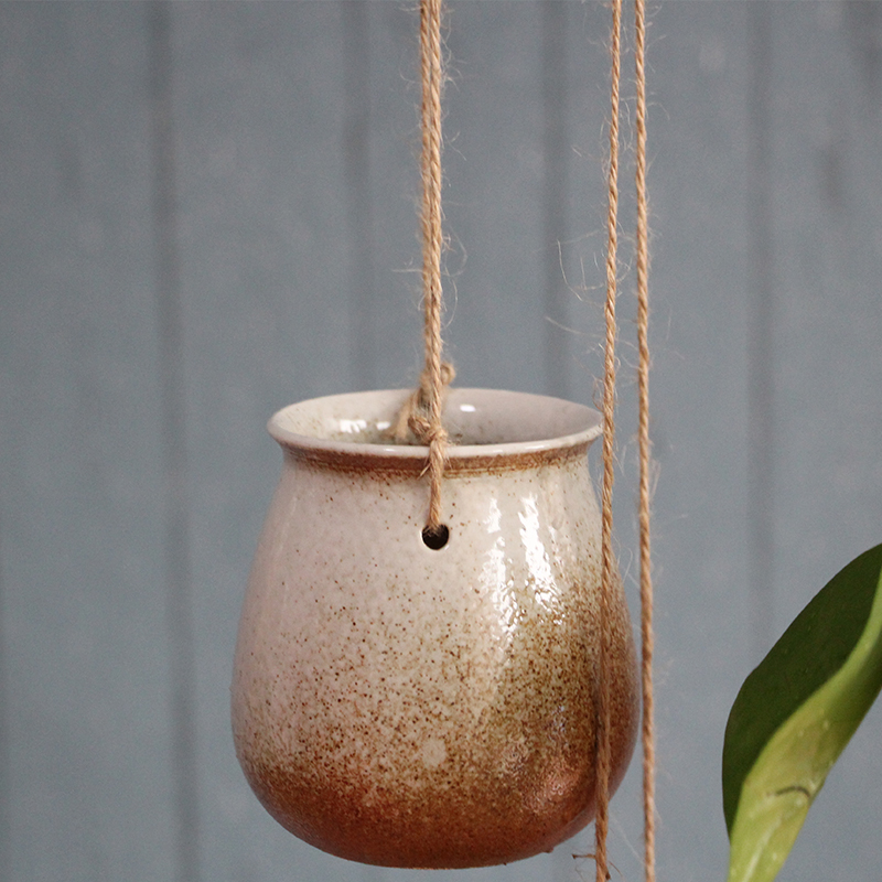 新款禅意中式粗陶瓷吊兰花盆园艺多肉植物绿萝盆栽麻绳吊篮花瓶