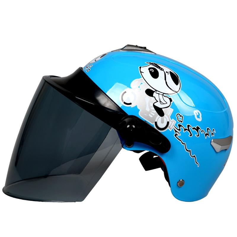 百利得儿童电动摩托车头盔男女小孩宝宝卡通可爱夏季半盔安全帽