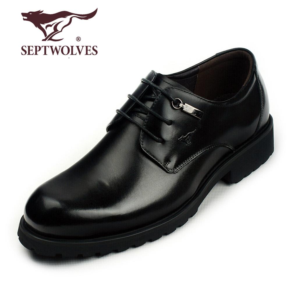 七匹狼皮鞋软牛皮大头鞋正品真皮工装鞋欧美商务正装厚底潮男鞋子