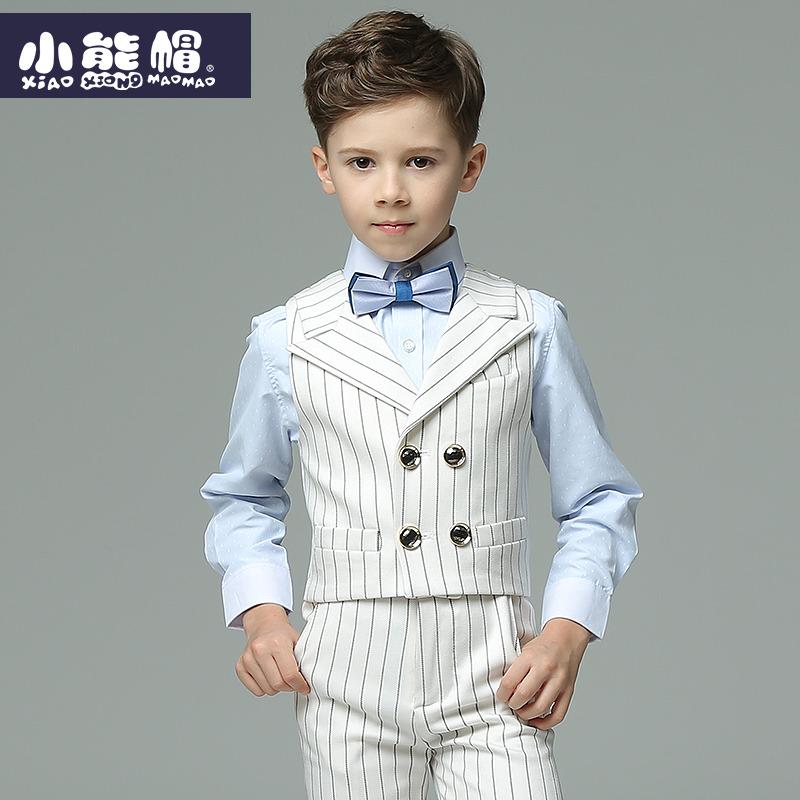 男童礼服夏英伦马甲套装小学生走秀六一演出服花童礼服儿童礼服男