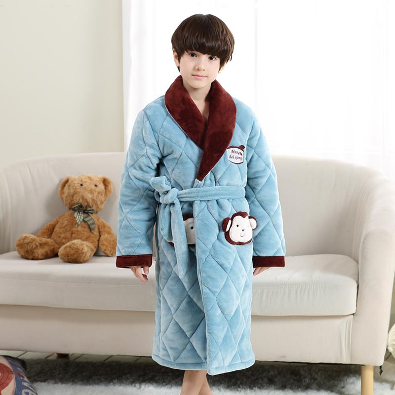 儿童睡袍男童女童珊瑚绒法兰绒男孩中大童冬季夹棉加厚款浴袍睡衣