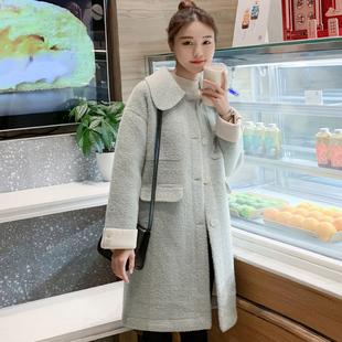 金貂绒呢子大衣女中长款2019新款秋冬季韩版流行水貂绒毛呢外套女