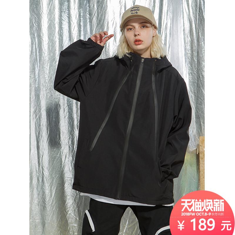 YEP黑色连帽短款女2018冬季新款欧美嘻哈怪味少女原宿风夹克外套