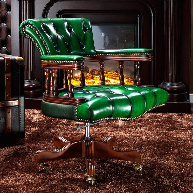美式老板椅真皮电脑椅办公椅家用椅子实木转椅靠背大班椅