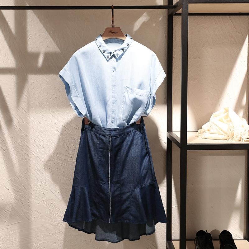 气质时尚百搭衬衫群牛仔两件套春装2018新款女 时髦套装 连衣裙