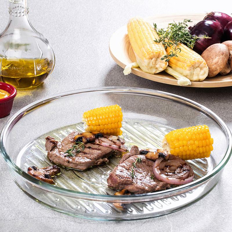 进口圆形微波炉烤箱专用玻璃烤盘大号盘长方形烘焙盘烤肉鱼盘子