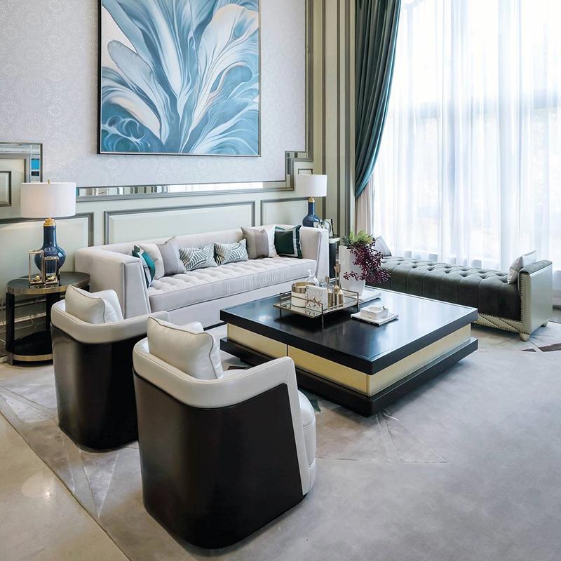 现代意式轻奢布艺沙发美式样板间家具后现代简约别墅客厅家具会所