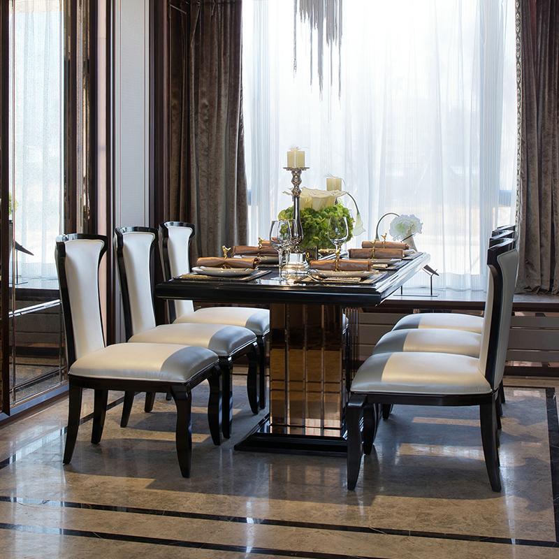 后现代实木餐桌 会所布艺餐椅长镜面餐桌椅组合 样板房家具定制