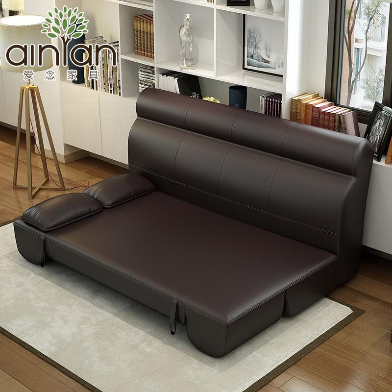 爱念 真皮沙发床 小户型两用三人位多功能客厅办公沙发床可折叠