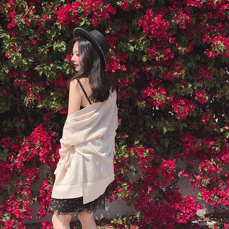 夏诗文定制 夏季长袖冰丝针织衫薄开衫女纯色宽松空调衫潮