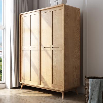 梦尚佳木质衣柜北欧日式简约现代卧室移门推拉双门原木储物大衣柜
