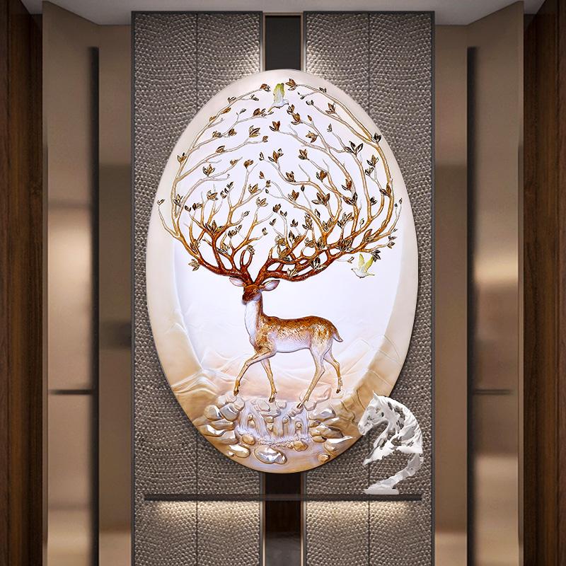 美周玄关装饰画单幅招财风水过道壁画走廊客厅圆形挂画立体浮雕画