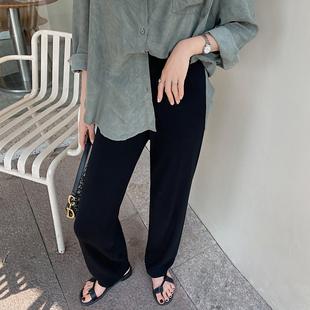 冰丝阔腿裤女春秋2020年新款高腰薄款垂感拖地直筒休闲筷子针织裤