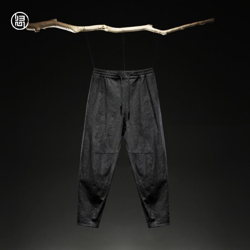 归心休闲裤男春新款设计师原创中国风男装亚麻中腰抽绳九分裤男潮