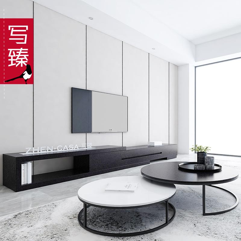 北欧铁艺圆形茶几简约电视柜组合套装现代客厅简易小户型创意茶桌
