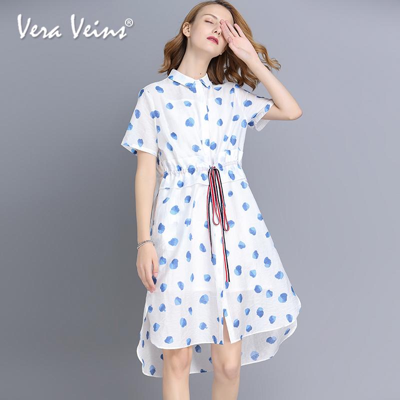 2018新款夏季衬衫裙女短袖中长款时尚收腰不规则波点印花连衣裙子