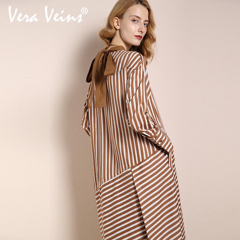 2018秋季新款女装高领背后蝴蝶结长袖条纹不规则a字中长款连衣裙