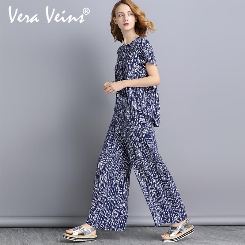 Vera Veins真丝时尚套装2018短袖上衣长裤文艺桑蚕丝宽松两件套